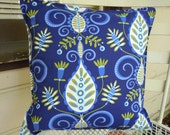 Contemporary Navy Blue and Lime Paisley - Polyfill Insert Included
