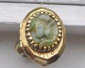 Vintage Jade Locket Cocktail Ring