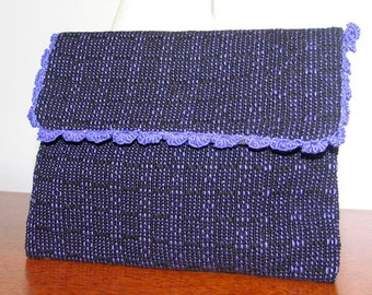 Charming Handwoven Clutch with Scalloped Edge - Free Shipping in the USA