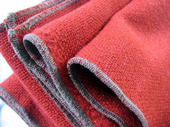 Throw Rug  Blanket Vintage Wool - Deep Orange