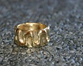 bronze ring, wide textured band