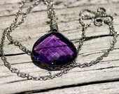Giant cushion cut amethyst and sterling pendant necklace
