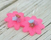 Colorful Earrings - lucite flowers and sterling