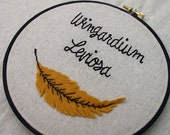 Wingardium Leviosa Harry Potter Inspired Embroidery Hoop Art. Feather Leaf Embroidery Hoop Wall Art Stitched Text Potterhead Levitate Geek