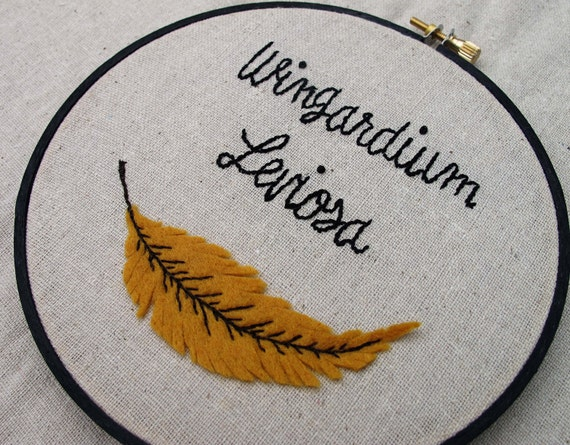 Wingardium Leviosa - Embroidery Hoop Art