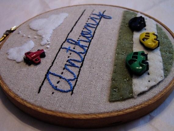 Custom Name - Embroidery Hoop Art - 5 inch hoop