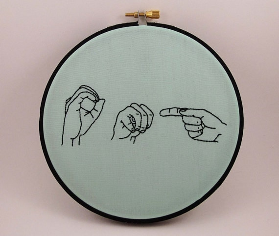 OMG - Sign Language Embroidery Hoop Art - 6 inches