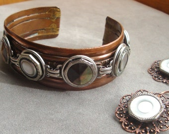 Vintage Button Bracelet Copper Cuff with 7 Victorian Mother of Pearl Buttons