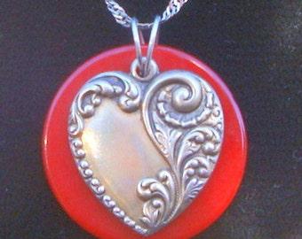SALE - Vintage Pewter Heart and Vintage Red Casein Base Pendant