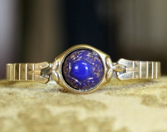 SALE Small Vintage Glass Button Bracelet Dark Blue and Gold Luster Glass Button Vintage Watch Band and Case