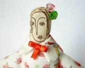 Fabric doll. white red. La signora Bertolotti