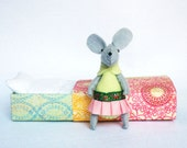 Green mouse miniature plush in matchbox bed
