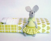Green mouse miniature plush in matchbox bed with lace