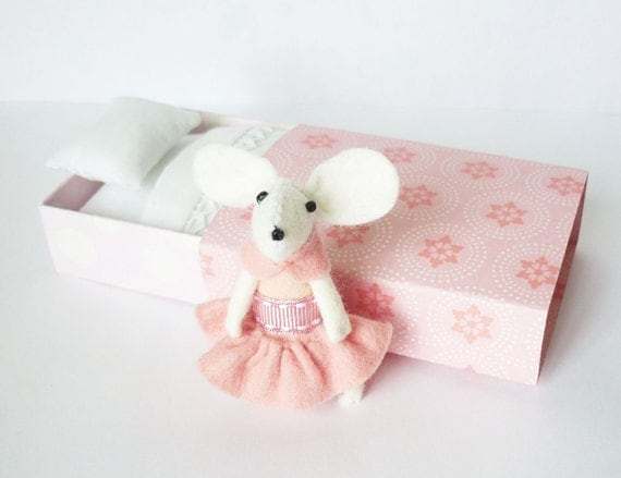 White mouse plush in matchbox bed patterned pink