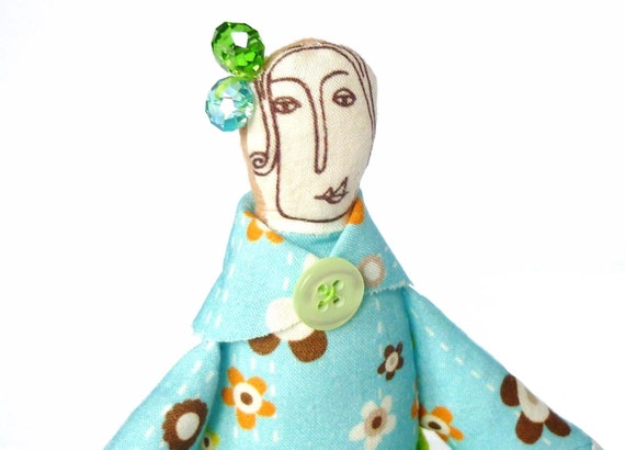 Fabric doll turquoise with green apron and green and blue glass beads La signora Bertolotti
