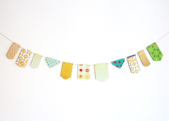 Green blue yellow paper garland