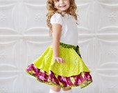 Girls Twirl Layered Skirt sizes 1T through 7/8 years available  removable bow   READY TO SHIP