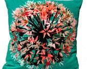 SALE-Turquoise Velvet Allium Cushion