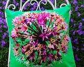 SALE-Green Velvet Allium Cushion from UK