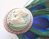 Peacock Feather Fascinator Cameo Hair Clip
