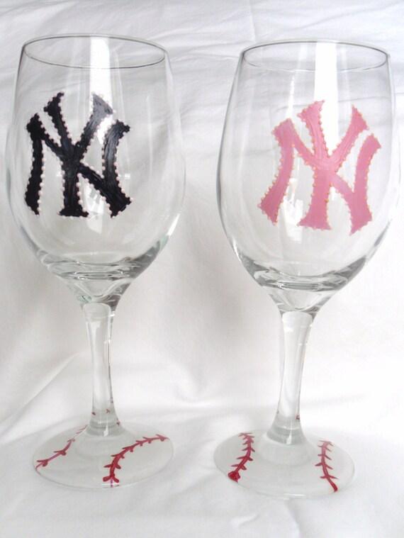 New York Yankees Hand Painted Wine Glass