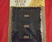 Vintage Ornate Black Triple Switchplate