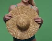 RESERVED FOR VERONICA - Vintage 80s Wide Brimmed Straw Hat