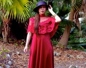 Vintage 70s Maroon Gown w Lace Sz S
