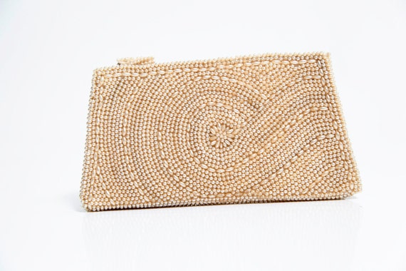 Vintage 1950's Cream Beaded Clutch