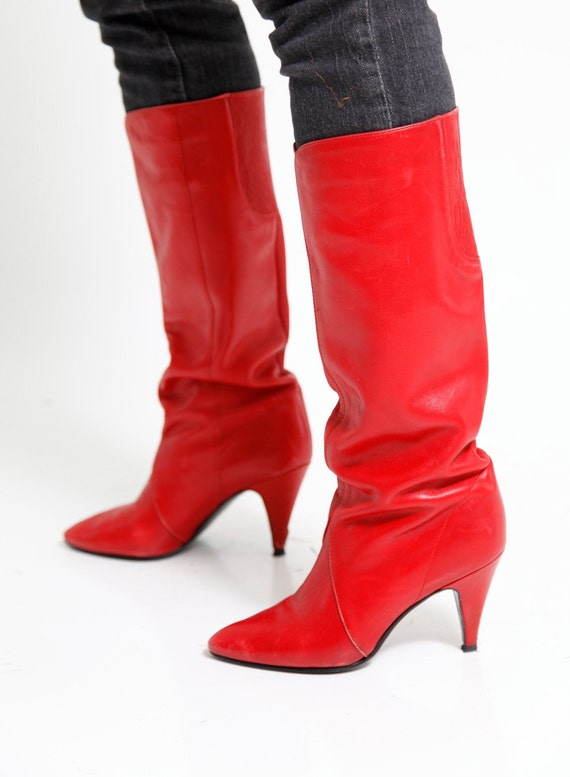 Vintage 80s Knee High Red Leather Boots