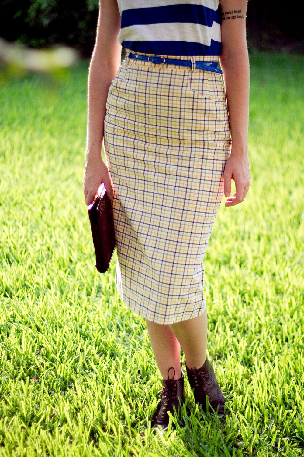 vintage blue yellow plaid pencil skirt by