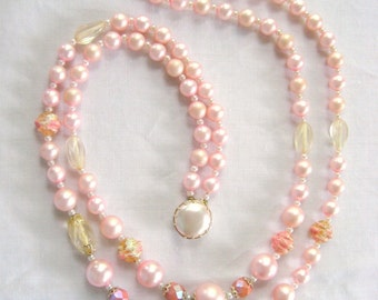 Pink Double Strand Necklace, Vintage Pastel Pearl Necklace