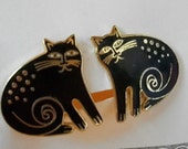 Vintage Laurel Burch Keshire Cat Earrings Clip On / ON SALE NOW
