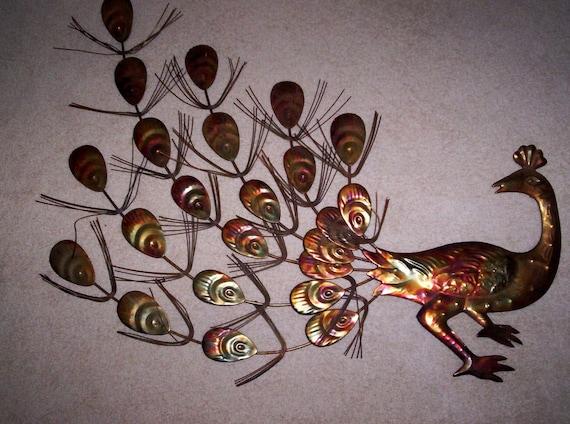 Vintage Metal Peacock Wall Art