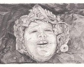 Terra-Cotta Mask Pencil Drawing Reproduction Note Cards
