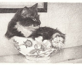 Pencil Drawing Reproduction A Bowl Full of Kitty Note Cards