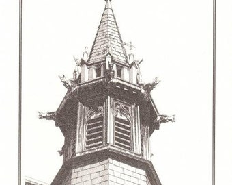 Pen and Ink Drawing Reproduction Steeple Beasties Note Cards