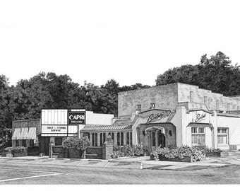 Pen and Ink Drawing Reproduction Old Cloverdale Business District Print