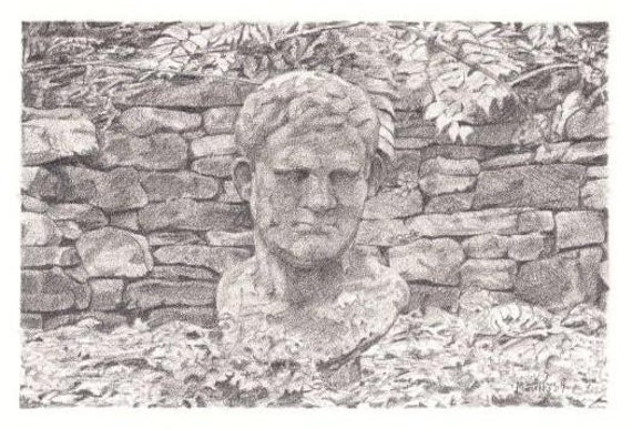 Pencil Drawing Reproduction Garden Delights, Man's Head Note Cards Stationery