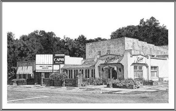 Pen and Ink Drawing Reproduction Cloverdale Business District Note Cards Stationery