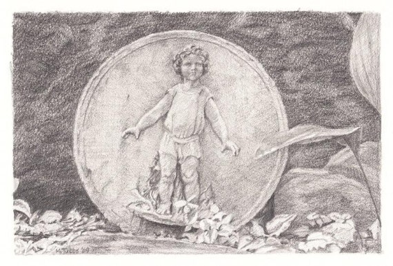 Pencil Drawing Reproduction Garden Delights, Child Note Cards