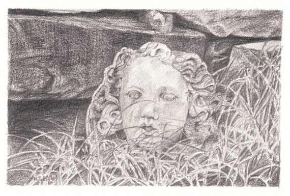 Pencil Drawing Reproduction Garden Delights, Woman's Head Note Cards