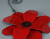 Red Tin Flower Ornament