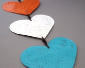 Three Hearts Garden Ornament - Orange White Teal