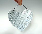 Shabby Chic Baby Blue Metal Heart Door Decor Garden Decoration Ornament Distressed Heart