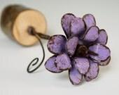 Purple Metal Flower Rose Freestanding Purple 3d Barbed Wire Stem Flower Organic Wood