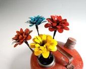 Three Metal Flowers Colorful Vintage Barbed Wire Stems Red Orange Yellow Teal Rustic Industrial Custom Order