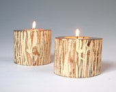 Rustic Candle Holders Tea Light Zen Eco Friendly Off White Vanilla Distressed Organic Wood Set of Two