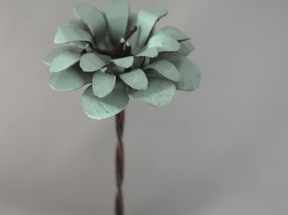 Sage Green Metal Barbed Wire Stemmed Flower with Natural Wood Base