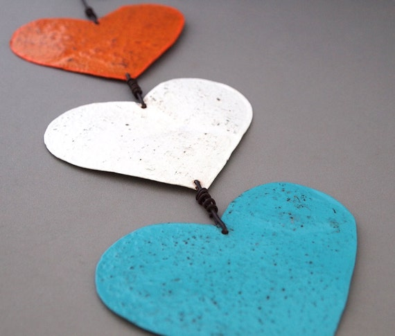 Three Hearts Garden Ornament - Orange White Teal